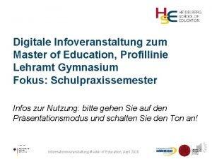 Digitale Infoveranstaltung zum Master of Education Profillinie Lehramt
