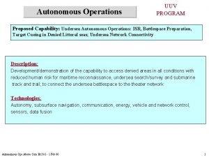 Autonomous Operations UUV PROGRAM Proposed Capability Undersea Autonomous