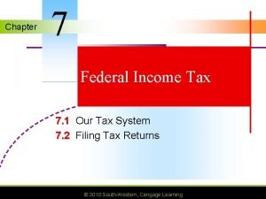 Chapter 7 Federal Income Tax 7 1 Our