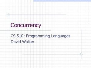 Concurrency CS 510 Programming Languages David Walker Concurrent