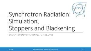 Synchrotron Radiation Simulation Stoppers and Blackening BGC Collaboration