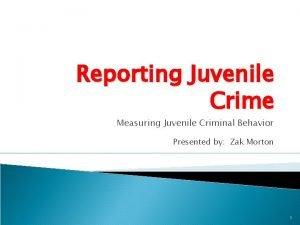 Reporting Juvenile Crime Measuring Juvenile Criminal Behavior Presented