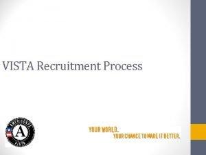 VISTA Recruitment Process Agenda Introduction Review of VISTA