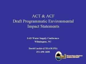 ACT ACF Draft Programmatic Environmental Impact Statements SAD
