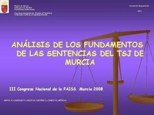 Regin de Murcia Consejera de Sanidad Prestaciones Asistenciales
