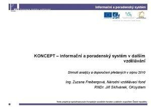 Informan a poradensk systm KONCEPT informan a poradensk