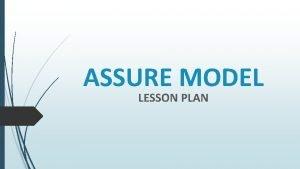 ASSURE MODEL LESSON PLAN Lesson Title Grade Lesson