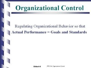 Organizational Control Regulating Organizational Behavior so that Actual