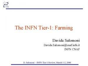 The INFN Tier1 Farming Davide Salomoni Davide Salomonicnaf