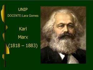 UNIP DOCENTE Lara Gomes Karl Marx 1818 1883