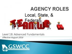 AGENCY ROLES Local State Federal Level 1 B