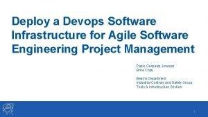 Deploy a Devops Software Infrastructure for Agile Software
