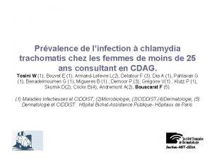 Prvalence de linfection chlamydia trachomatis chez les femmes