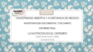 UNIVERSIDAD ABIERTA Y A DISTANCIA DE MEXICO INVESTIGACION
