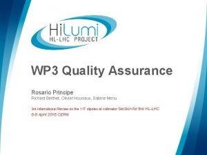 WP 3 Quality Assurance Rosario Principe Richard Berthet