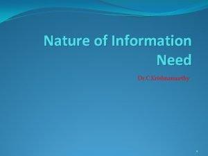 Nature of Information Need Dr C Krishnamurthy 1