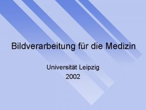 Bildverarbeitung fr die Medizin Universitt Leipzig 2002 Veranstalter