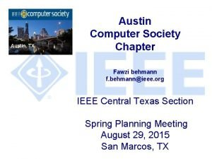 Austin TX Austin Computer Society Chapter Fawzi behmann