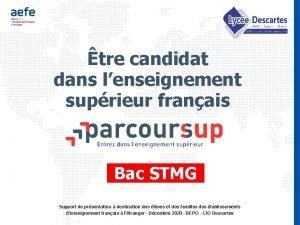 tre candidat dans lenseignement suprieur franais Bac STMG