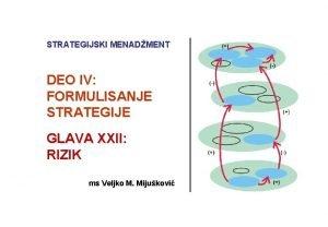 STRATEGIJSKI MENADMENT DEO IV FORMULISANJE STRATEGIJE GLAVA XXII