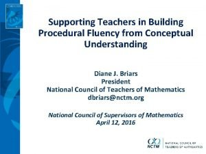 Supporting Teachers in Building Procedural Fluency from Conceptual