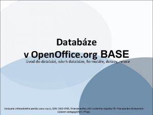 Databze vvod do databz nvrh databze formule dotazy