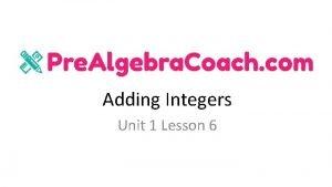 Adding Integers Unit 1 Lesson 6 Adding Integers