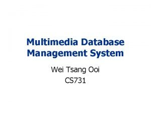 Multimedia Database Management System Wei Tsang Ooi CS