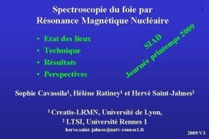 Spectroscopie du foie par Rsonance Magntique Nuclaire Etat