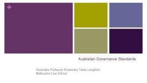 Australian Governance Standards Associate Professor Rosemary Teele Langford