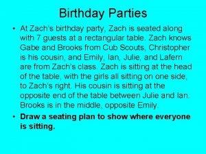 Birthday Parties At Zachs birthday party Zach is