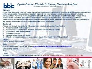 Opera Omnia Rischio in Sanit Sanit a Rischio