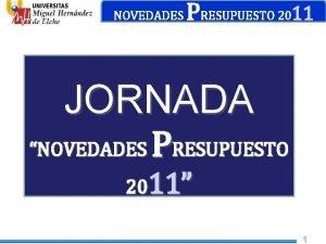 NOVEDADES PRESUPUESTO 2011 JORNADA NOVEDADES PRESUPUESTO 2011 1