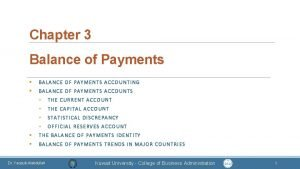 Chapter 3 Balance of Payments BALANCE OF PAYMENTS