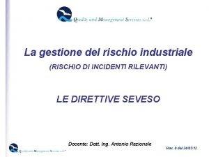 La gestione del rischio industriale RISCHIO DI INCIDENTI