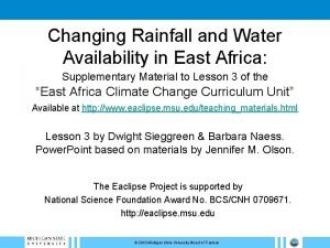 Changing Rainfall and Water Availability in East Africa
