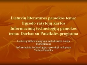 Lietuvi literatros pamokos tema Egzodo raytoj kartos Informacini