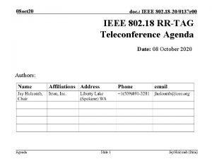 08 oct 20 doc IEEE 802 18 200137
