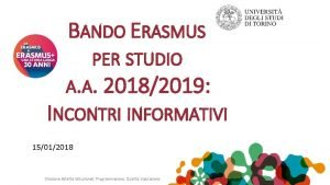 BANDO ERASMUS PER STUDIO A A 20182019 INCONTRI