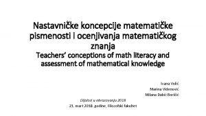 Nastavnike koncepcije matematike pismenosti i ocenjivanja matematikog znanja