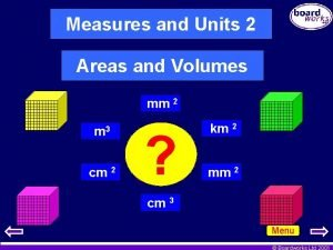 Measures and Units 2 Areas and Volumes mm