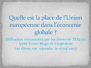 Quelle est la place de lUnion europenne dans