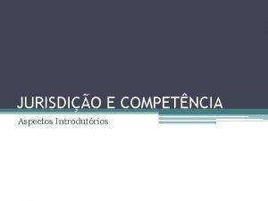 JURISDIO E COMPETNCIA Aspectos Introdutrios 1 Jurisdio A