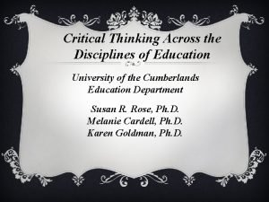 Critical Thinking Across the Disciplines of Education University