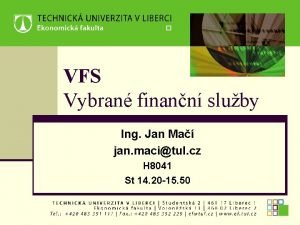 VFS Vybran finann sluby Ing Jan Ma jan