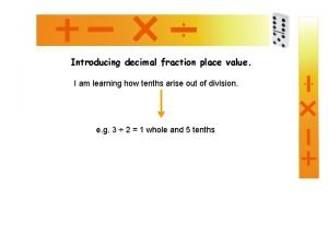 Introducing decimal fraction place value I am learning