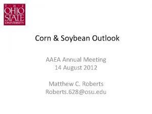 Corn Soybean Outlook AAEA Annual Meeting 14 August