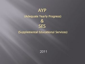 AYP Adequate Yearly Progress SES Supplemental Educational Services