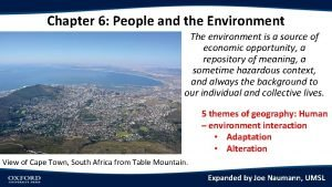 Chapter 6 People and the Environment The environment
