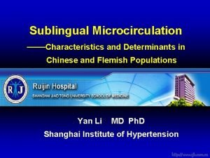 Sublingual Microcirculation Characteristics and Determinants in Chinese and